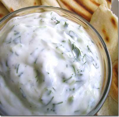Cucumber and Yogurt fresh Salad, cloves garlic, mashed, dried mint